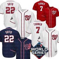 bordado nacional al por mayor-22 Juan Soto 7 Trea Turner Jersey para hombre Nacional Juan Soto jerseys del béisbol bordado Logos M-XXXL