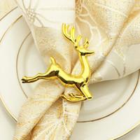 bagues décoration achat en gros de-cerf serviette anneaux pour le support de serviette de mariage Western Dinner Serviette Anneau Hôtel Table Décoration porte-serviette KKA6863