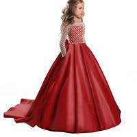vestido largo rojo de lujo al por mayor-Venta al por mayor Rojo Nuevo Lindo Ocasión formal Flor de lujo Vestidos Largo del piso Botón Cubierto Rosa Mangas largas Vestidos de bola de tul para niños 312