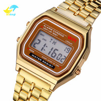 Wholesale military electronics for sale - Group buy Vitog Women Men digital Watch Gold Silver Retro Stainless Steel LED Sports Military Wristwatches Electronic Digital Watches Present