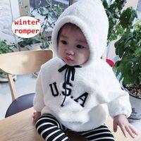 Wholesale white infant pajamas resale online - Infant Clothing Baby Warm Pajamas U S A Letter Print Romper Unisex long sleeve Jumpsuit Hooded Overalls