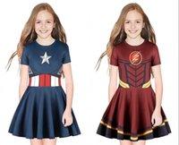 kapitänsstern großhandel-Mädchen Kleidung Cosplay Captain America Kleid Mädchen Uniform Schöne Kinder Sternbedruckte Kleid Kinder Prinzessin Kleid