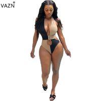 junge mädchen strand großhandel-VAZN ORY5128 neuer Sommer des Produktes 2019 reizvoller Dame Patchwort-Bodysuit reizvoller V-Ansatz dünner Strand des jungen Mädchens des Bodysuits, der neuen Anzug schwimmt