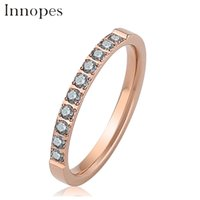 Wholesale shiny stainless steel rings for sale - Group buy Innopes romantic forever love shiny Rose gold zircon ring silver finger ring for women girl jewelry wedding Engagement Cute gift
