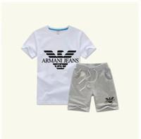 bebê menino esportes terno verão venda por atacado-Menino Crianças Define Crianças T-shirt E Calça Crianças Conjuntos de Algodão Bebê Meninos Meninas Terno de Verão Bebê Terno Do Esporte 2 Pçs / set