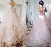 Wholesale layered wedding dress bow for sale - Group buy Graceful Tulle Wedding Dresses V Neck Lace Appliques Backless Bow Sash Layered Garden Bridal Gowns vestidos de novia