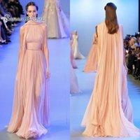 formale kleider abend linie spitze erröten großhandel-2020 A-Line Blush Chiffon Abendkleider Promi Wear Lace Arabisch Dubai Besondere Anlässe Elegantes Partykleid mit Cape Abendkleider