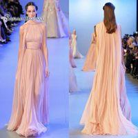 Wholesale arabic elegant wedding dresses images resale online - 2020 A Line Blush Chiffon Formal Prom Dresses Celebrity Wear Lace Arabic Dubai Special Occasion Elegant Party Dress with Cape Evening Gowns