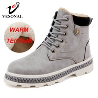 Wholesale plush adult shoes for sale - Group buy Brand Men Ankle Boots Shoes Casual For Male Adult Winter New Snow Boots Warm With Fur Short Plush Sneakers Men Footwear