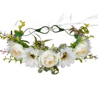 kranz frühling großhandel-Blume Crown Rose Kränze Fünf Farben Manuelle Cane Ästhetizismus Haarband Frauen Künstliche Blumen Frühling Und Herbst Reise SN3308