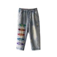 büyük kadın harem pantolon toptan satış-Harem Kot Denim Pantolon Pantolon Gevşek Kadınlar için Nakış Mektupları Büyük Boy Moda Rahat Amerikan 2018 80253-1