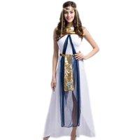 etnik kostüm kadınları toptan satış-Seksi Kleopatra Kostüm Kraliçe Tanrıça Cosplay Kadın Kızlar Mısır Cadılar Bayramı Kostüm Etnik Giyim