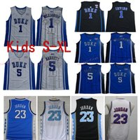 camisetas de baloncesto azul niños al por mayor-Jóvenes Duke Blue Devils College Basketball Jersey Boys 1 Zion Williamson 5 RJ Barrett Black 23 Michael North Carolina Tar Heels Camisetas