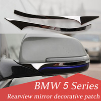 Wholesale stainless steel decorative strips resale online - 2pcs Stainless steel Rearview mirror decorative strips Car styling Exterior D stickers for BMW Series F10 F18 Auto Accessories
