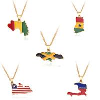 южный флаг оптовых-Freeship NEW Страна Карта Флаг ожерелье Африка Гвинея Гана Либерия Undersea Ямайка Южная Африка Соня Подвеска цепи Человек ювелирные изделия