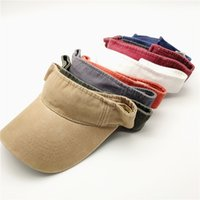 Wholesale hat strap for sale - Group buy Topless Adjustable Sunshade Hats Unisex Leisure Water washed Coated Cap Men Women Summer Outdoor Strap Back Cap Visor LJJJ5
