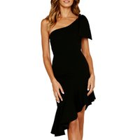 xl rahat kıyafetler toptan satış-Moda Casual Kadın Basit Seksi Ruffles Kolsuz Kapalı Omuz Elbise Katı Siyah Akşam Parti Elbise S-XL