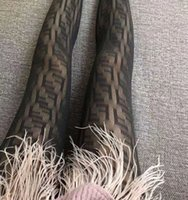 ingrosso pantyhose for-Donna Maglie Collant F lettera Calze Hollow Out Pantyhose Ladies Black Pantynose Fashion Legging stretto LJJK1700