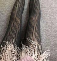 siyah tayt modası toptan satış-Kadın Örgü Tayt F mektubu Çorap Külotlu Çorap Oymak Bayanlar Siyah Pantynose Moda sıkı Legging LJJK1700