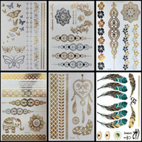diseños de tatuajes metalicos al por mayor-6 Unids / lote Hot Flash Metallic Impermeable Tatuaje Temporal Oro Plata Tatoo Mujeres Flor de Henna Taty Diseño Etiqueta Engomada del tatuaje