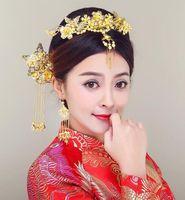 Wholesale chinese bride hair online - Bride Xiuhe Kimono Cheongsam with Chinese Ethnic Flow Comb Jewelry Wedding Dress Hair Jewelry