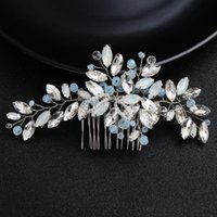 Wholesale blue rhinestone hair combs resale online - Miallo Newest Blue Opal Crystal Bridal Hair Combs Clips Wedding Hair Accessories Jewelry Fashion Headpiece JCH198