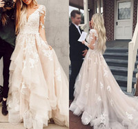 Wholesale princess dress nudes resale online - 2020 vintage Deep V neck Wedding Dresses Bridal Gowns Long Sleeves Modest Ruffles Skirt Applique Beaded Cheap Wedding Gown Cheap