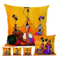 Wholesale collections paints resale online - Orange Abstract Painting Life Collection Woman Home Decor Pillow Case Gallery Exotic Restaurant Sofa Cushion Cover