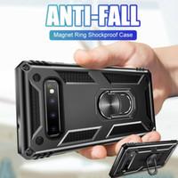 halka tutucu telefon çantası toptan satış-Cep Telefonu Kılıfı Manyetik Araba Halka Tutucu Standable Sert Geri PC Zırh Vaka iphone 8 X XS MAX Samsung S10 S10e Artı