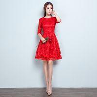 elbiseli elbiseler toptan satış-Yüksek Kalite Kırmızı Pembe Ziyafet Örgün Abiye Gelin Tost A-Line Gelinlik Modelleri Kısa Dantel Parti Abiye DH10