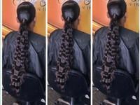 ingrosso acconciature brasiliane profonde-New Deep wave nero capelli umani coda di cavallo acconciatura 10-26 inch lunghi capelli brasiliani bassi avvolge coulisse coda di cavallo parrucchino per le donne nere