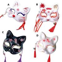 Wholesale japanese fox cosplay resale online - Fox Mask Hand painted Japanese Mask Half Face PVC Fox Masquerade Festival Ball Kabuki Kitsune Masks Cosplay Costume