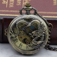 relógio projetado chinês venda por atacado-Relógio de bolso mecânico do projeto chinês do dragão do estilo do bronze do vintage com a colar com corrente PJX1329 de Fob