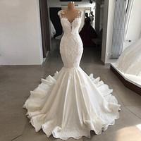 nackt sehen durch spitzekleider großhandel-2019 New Mermaid Brautkleider Durchsichtig Backless Sweep Zug Hochzeit Brautkleider Luxus Vestido de noiva Bead Lace Brautkleid