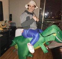 adultos inflables disfraces de halloween al por mayor-Disfraz de dinosaurio inflable Jurrasic World Cosplay 3 tamaños Decoración de Halloween Vestido de dinosaurio Ropa inflable Mono de Navidad Adultos