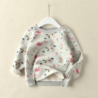 neue design-tops für mädchen großhandel-2018 neue winter artikel mädchen casual langarm top fleece t-shirt warm design