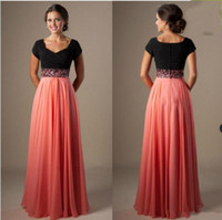 Wholesale modest dresses for prom for sale - Group buy 2019 New Cheap Long A line Beading Chiffon Pleated Modest Prom Dress with Cap Sleeves Evening Dress For Party vestidos de novia