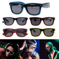 светодиодные солнечные очки оптовых-Мигающие очки El провода светодиодные очки светящиеся праздничные атрибуты освещение новинка подарок яркий свет фестиваль партия Glow солнцезащитные очки