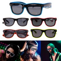 Wholesale flashing lights sunglasses resale online - Flashing Glasses EL Wire LED Glasses Glowing Party Supplies Lighting Novelty Gift Bright Light Festival Party Glow Sunglasses