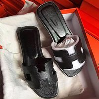 Wholesale best leather women shoes resale online - 2020 new Slippers Sandals Flat shoe Real leather Slides Best Quality Slippers Sandals Huaraches Loafers Scuffs For Woman Eu