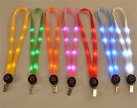 luz de suspensão do cabo de corda venda por atacado-Novo LED Light Up Colhedor Chaveiro ID Chaves Titular 3 Modos Piscando Corda Pendurada 7 Cores Piscando Cordão Pingente Pendurado Cabo