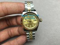 relojes de marca valentine al por mayor-Las nuevas marcas de lujo President Date Watches Dial dorado Relojes de acero inoxidable para mujer Reloj de pulsera automático Valentine's Best Gift 28mm