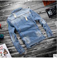 ingrosso lunghe giacche blu jean-2019 Uomo Primavera New Jean Giacche Hip Hop Strappato Designer Denim Blue Cappotti a maniche lunghe monopetto giacca all'ingrosso