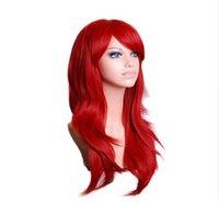 ingrosso parrucche nere bionde-Parrucca di ruolo lunga ondulata rossa, verde, rosa, nera, blu, lunga parrucca sintetica grigia, bionda, marrone, 70 cm
