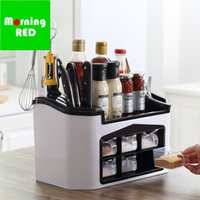 Wholesale seasoning box condiment resale online - New Arrivals Kitchen Seasoning Plastic Box Condiment Storage Container Indispensable Cooking Tool Dish Knife And Fork Organizer