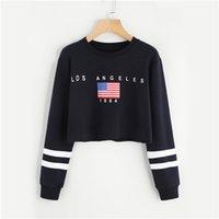 schwarzes flaggen-sweatshirt großhandel-Brief amerikanische flagge drucken varsity striped crop schwarz sweatshirt frühling herbst frauen oansatz langarm casual sweatshirt