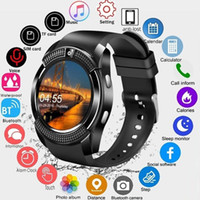 Wholesale apple sim box black online – V8 Smartwatch Bluetooth Smart Watch With M Camera SIM And TF Card Watch For Android System Smartphone In Box