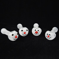 Wholesale inside out pipes for sale - Group buy Oil Buner Snow White Frit Glass Pipe inside out colored Smoking Pipes Snowman Oil Burner Pipe Santa Heady Glass Spoon Pipe Christmas Gift