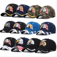 Wholesale camo tactical hat resale online - American Flag Baseball Cap Eagle Embroidery Snapback Camo Outdoor Sports Tactical Hats Versatile Outdoor Sunscreen Party Hat DHC557