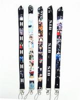 Wholesale gym key holder resale online - BTS Bangtan Boys Neck Strap Lanyards for keys ID Card Gym Mobile Phone Strap USB Badge Holder Rope lanyard